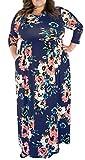 3X Maxi Dresses for Women Plus Size Floral Print High Waist Long Dress Navy Blue