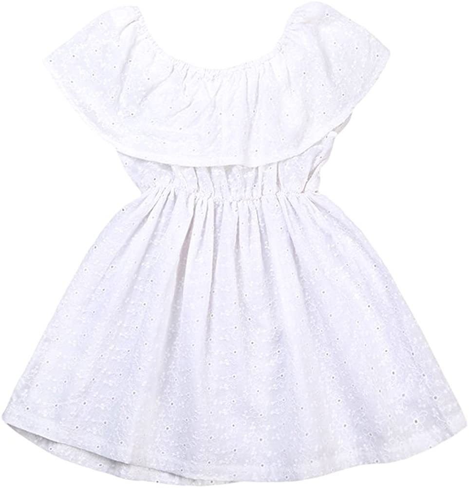 Toddler Kids Baby Girl Hollow Ruffle Off Shoulder Lace Mini Dress White Summer Outfit