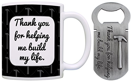Christmas Gifts for Dad Grandpa Uncle Thank You for Helping Me Build My Life Gift Coffee Mug & Pewter Magnetic Bottle Opener Bundle For Sale