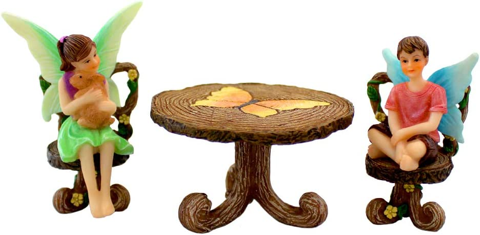 NW Wholesaler Fairy Garden 3 Piece Set - Fairy Garden Kit for All Ages - Perfect Addition to Your Fairy Garden (2 Fairies-Table & Chairs)