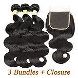 Mureen Brazilian Hair With Closure 8A 3 Bundles Body Wave Virgin Human Hair
