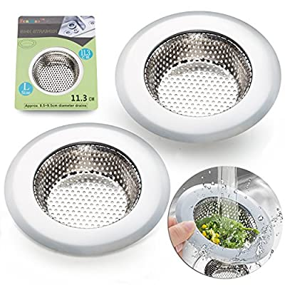 """2PCS Stainless-Steel Kitchen Sink Strainer - Large Wide Rim 4.5"""" Diameter - Perfect for Kitchen Sinks (Large) - Fengbao"""