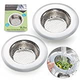 2PCS Stainless-Steel Kitchen Sink Strainer - Large Wide Rim 4.5 Diameter - Perfect for Kitchen Sinks (Large) - Fengbao