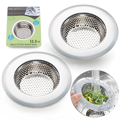 2PCS Stainless-Steel Kitchen Sink Strainer - Large Wide Rim 4.5