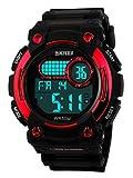 WUTONYU(TM) Men's Sports Design Multifunctional LCD Digital Luminous Waterproof Wrist Watch (Red)