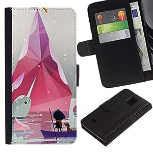 Billetera de Cuero Caso Titular de la tarjeta Carcasa Funda para Samsung Galaxy S5 Mini, SM-G800, NOT S5 REGULAR! / Minimalist Pastel White / STRONG