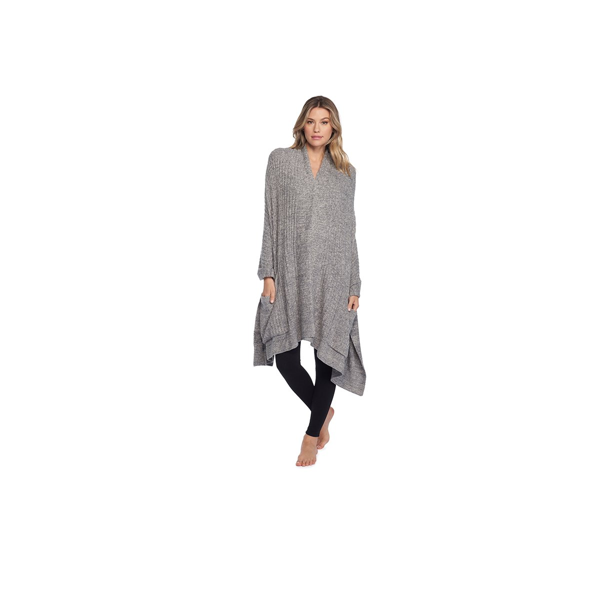 Barefoot Dreams The Cozychic Light Travel Shawl (Heathered Graphite/Stone)