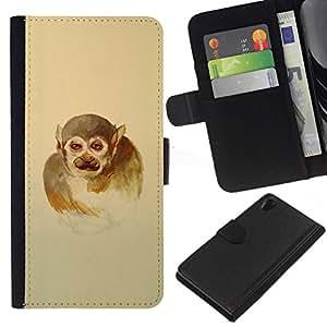 NEECELL GIFT forCITY // Billetera de cuero Caso Cubierta de protección Carcasa / Leather Wallet Case for Sony Xperia Z2 D6502 // Hombre mono
