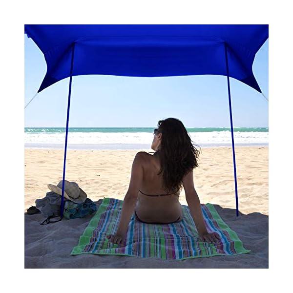 51%2BR4SkvWiL Bessport Strandzelt Sonnenschutz Kommt mit 4 Sandsäcken und 4 Aluminiumstangen 3mx3m   UPF 50+ UV Sonnenschutz…