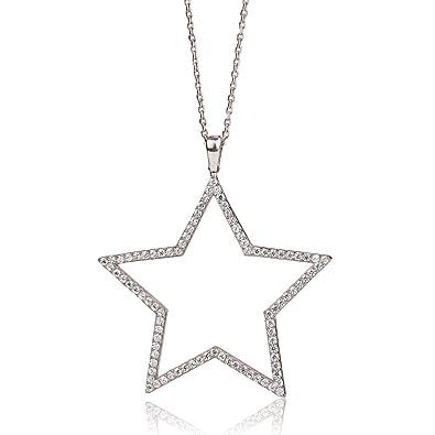 Ingenious jewellery long sterling silver necklace with large open ingenious jewellery long sterling silver necklace with large open pave star pendant of 67 70cm aloadofball Choice Image