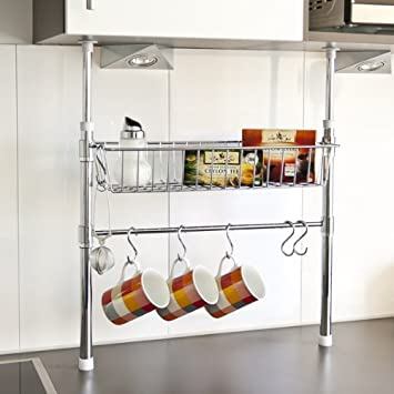 bremermann® küchen-teleskopregal inkl. korb, stange und haken ... - Küchen Teleskopstange Mit Korb