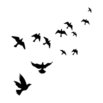 Winomo Wallpaper Black Flying Bird Wall Stickers Decal Home Decoration Removable Mural Diy Decor Xcm