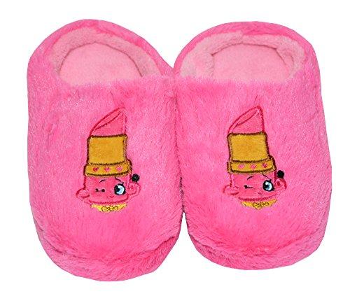 Shopkins Girls Embroidered Plush Clog Slippers (2/3, Fuschia- Lippy Lip) ()