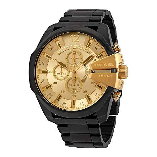 - Diesel Men's Mega Chief Analog-Quartz Watch with Stainless-Steel-Plated Strap, Black, 25 (Model: DZ4485)