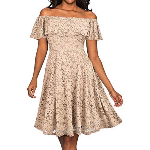 ANJUNIE Women Formal Lace Butterfly Sleeve Swing Dress Off The Shoulder Prom Dress(Beige,XL)