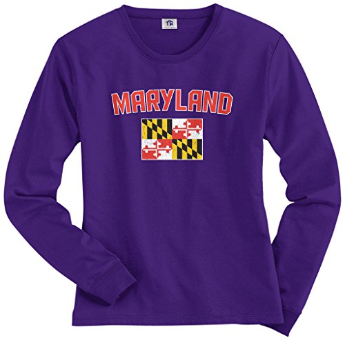 Threadrock Womens Maryland Flag Long Sleeve T Shirt S Purple