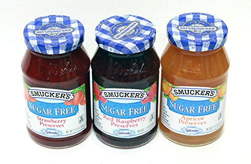 (Smuckers Sugar Free Preserves 3 in 1 Apricot, Red Rasberry, Strawberry Preserves, Variety Pack)