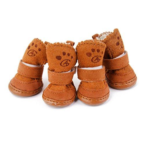Lohfarben Warm Hunde Schuhe Hundeschuhe Dog Boots Geeignet für Pfoten(ca.): 4.44 x 3.81 cm (L x B)