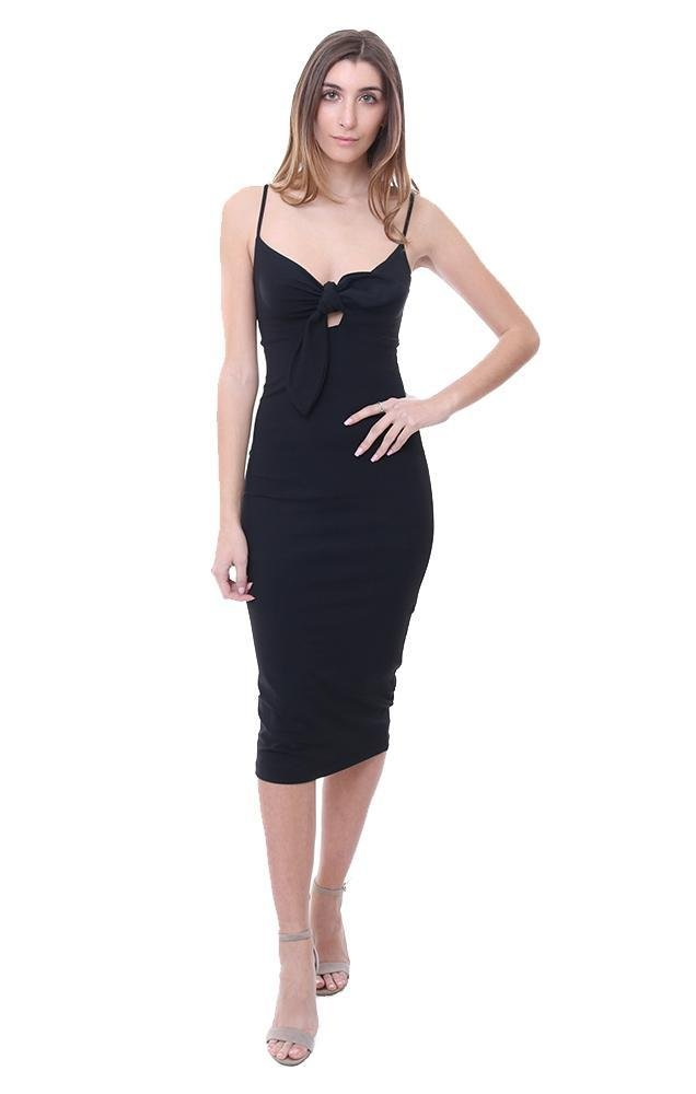 Susana Monaco Dresses Bow Midi Black Dress - Black - S