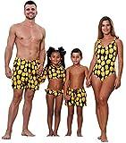 Family Matching Yellow Flower Print Bathing Suit Women Monokini Girl 2-Piece Rash Guard Swimsuit Dad&Boy Swim Shorts (Boy, Boy/ 3T)