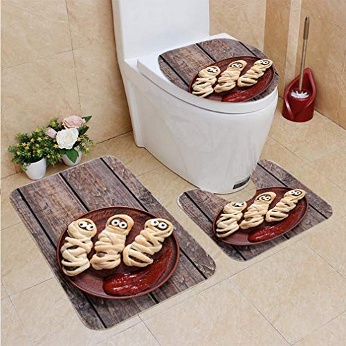 3 Sets of Bathroom Home, Bathroom Carpet + Contour pad + lid Toilet seat,Mummy Sausages Scary Halloween Party Food Decoration Wrapped in Dough, Flannel -