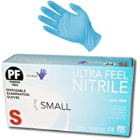 Ultra Feel Blue Nitrile Powder Free Latex Free Disposable Examination Gloves (Small)