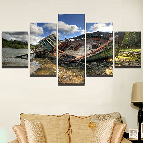 [Medium] Premium Quality Canvas Printed Wall Art Poster 5 Pieces / 5 Pannel Wall Decor Cool Fishing Boat Seascape Painting, Home Decor Pictures - With Wooden Frame