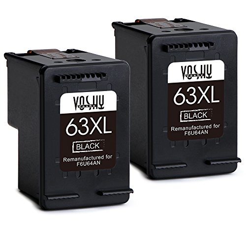 Voshy Remanufactured HP 63XL 63 Ink Cartridges, High Yield Replacement for HP OfficeJet 4650 3830 5255 3833 Envy 4520 4516 DeskJet 1112 3634 3632 3633 3637 3630 3636 Printer, 2 Black by Voshy