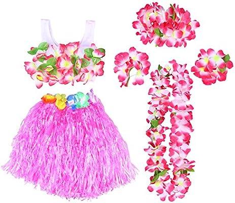 32b2f0f17 BESTOYARD Conjunto de Disfraces de Hula Hawaiana para Niños con Pulseras  Diadema de Flor Falda Rosado 40CM 6 Piezas