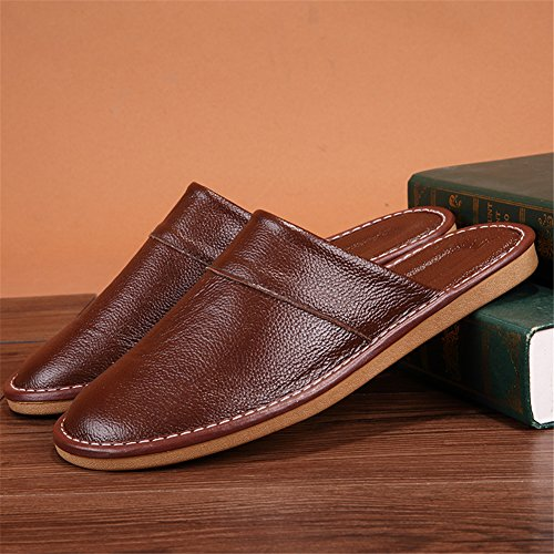 Cowhide Summer Men Corium Women for Smelly Spring Wooden Floor Leather Pourpre W TELLW Slippers Anti Autumn qBHI75wwf