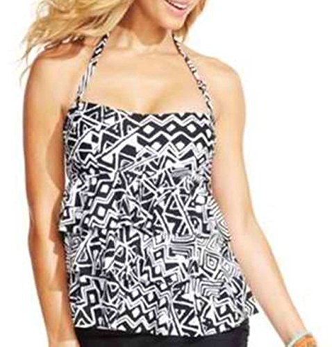 Island Escape Women's Printed Tiered Tankini Top,Black Multi,10