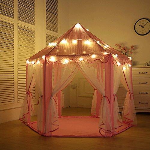 aniikiss Portable Castillo de princesas Play tienda de campaña, Niños Funny para interiores y exteriores playhouse-with Luz...
