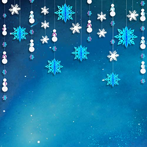 pinkblume Frozen Party Snowflake Decoration Kit–Winter Wonderland Decorations White 3D Paper Snowflake Garland,Blue Large Hanging Snowflake Banner,Purple and Blue Snowman Garland -