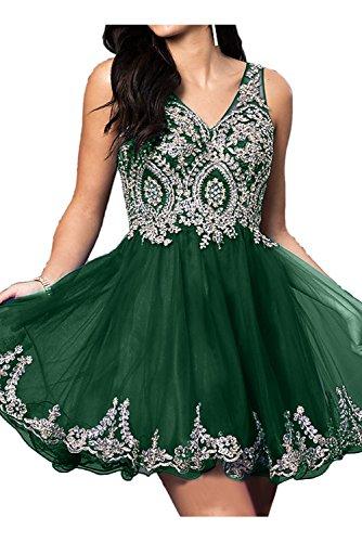 V Zaertlich Dunkelgruen Festkleider Ivydressing Brautjungfernkleid Mini Spitze Abendkleider Damen Ausschnitt SE5xq1zw5