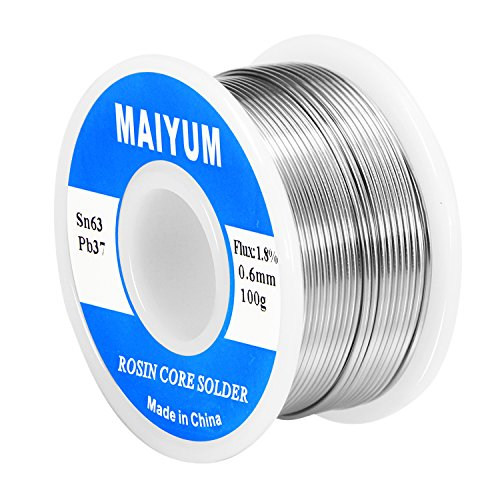 (MAIYUM 63-37 Tin Lead Rosin core solder wire for electrical soldering (0.6mm 100g))