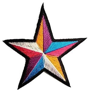 """Estrella colorida colorida de la estrella del remiendo """"9,0 x 9,0 cm '- Parche Parches Termoadhesivos Parche Bordado Parches Bordados Parches Para La Ropa Parches La Ropa Termoadhesivo Apliques Iron on Patch Iron-On Apliques"""