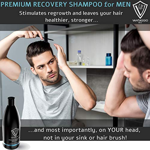 Hair Loss Shampoo for Men - Boosts Hair Growth and Thickening - DHT Blocker Fights Thinning and Alopecia - PROCAPIL Premium Formula with Castor Oil Peppermint Ginseng and Dead Sea Salt - 13.5 oz