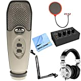 CAD Audio U37 USB Large Diaphragm Cardioid Condenser Microphone w/Tripod, 10' Cable Silver + Wind Screen + Mic Suspension + Behringer HPX2000 DJ Headphones + Behringer HA400 Stereo Headphone Amp