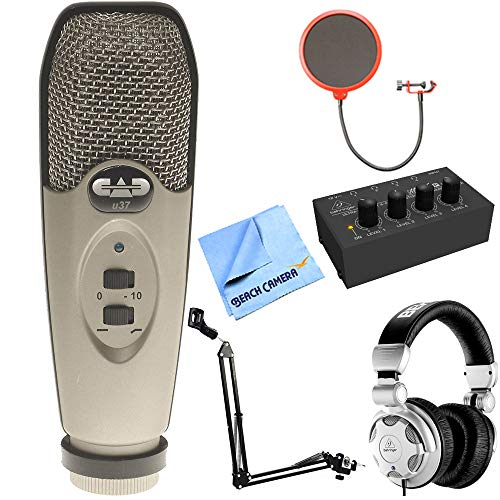 CAD Audio U37 USB Large Diaphragm Cardioid Condenser Microphone w/Tripod, 10' Cable Silver + Wind Screen + Mic Suspension + Behringer HPX2000 DJ Headphones + Behringer HA400 Stereo Headphone Amp by CAD Audio