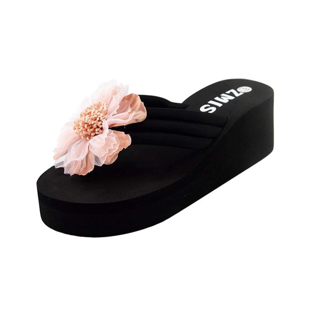 Clearance Women's High Heel Platform Wedge Sandals Shoes, Jiayit Women Ladies Summer Flower Home Wedges Beach Shoes Sandals Flip Flops Slippers Summer Thong