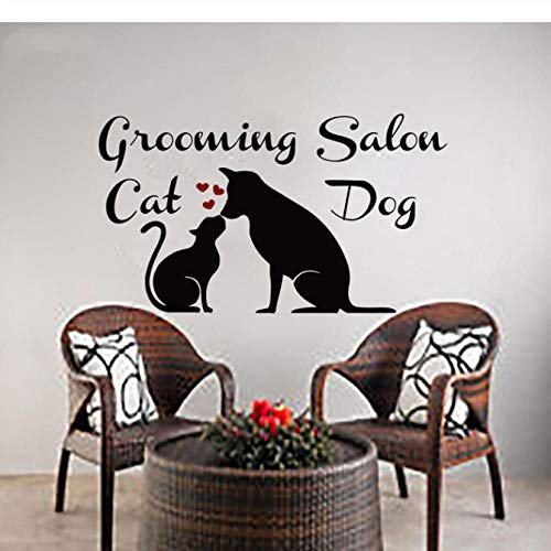 (kangbaby Wall Decal Vinyl Art Home Decoration Wall Decals Cat Art Grooming Salon Wall Poster Pet Shop Window Mural)