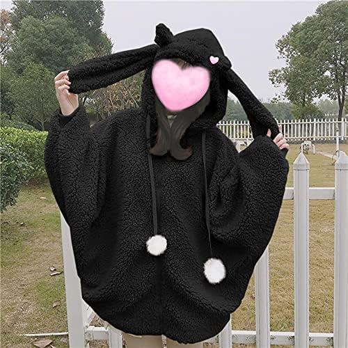 Women's cartoon rabbit ear women's Hoodie sweet cute hairy Rabbit Plush warm sweater top zipper jacket