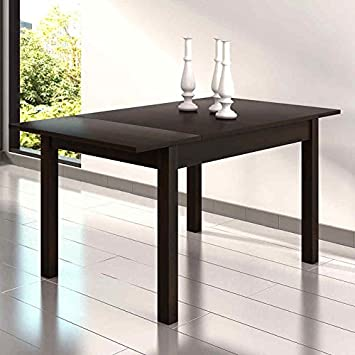 Mesa de comedor o salon extensible en color wengue 122x80 cm: Amazon ...