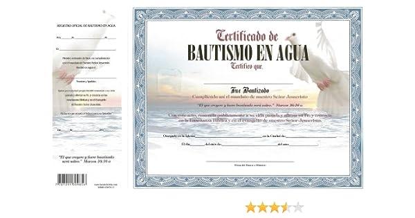 Certificado de Bautismo en Agua Azul Paloma: Fuente de Vida Distributors Inc.: 7707211309856: Amazon.com: Books