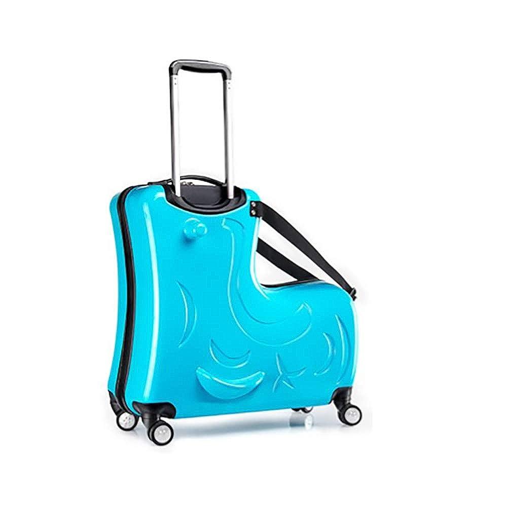 子供のトロリーケース子供の荷物のトロリーケースはスーツケース24インチブルーに乗ってトロリーケースユニバーサルホイール漫画子供に乗ることができます   B07QKVWWNV