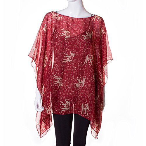 Crimson Elephant with Tribal Accents Lightweight Summer/Spring Chiffon Tunic (One Size Fits (Delta Elephant)