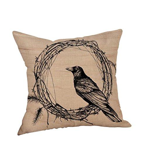 Challyhope Vintage Classic Crow Series Throw Pillow Cases Linen Cushion Cover Halloween Pillowslip Sofa Home Decor (18