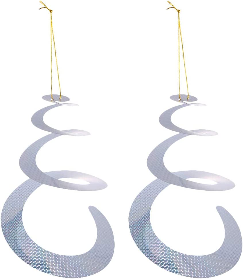 YARNOW Reflectores Espirales Repelentes de Pájaros 2 Piezas de Colgantes Reflectantes Repelentes de Plagas - Dispositivo Decorativo de Disuasión de Pájaros para Ahuyentar a Pájaros Como