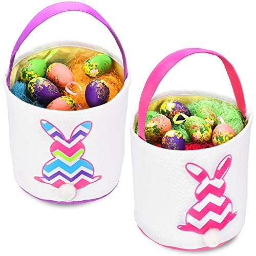 Boao 2 Pieces Easter Baskets Bunny Bag with Cute Rabbit Tail for Easter Egg Kids Hunting Party Favors