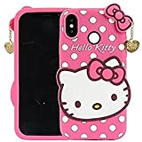 Explocart Hello Kitty 3D Cute Silicone with Pendant Back Cover for Xiaomi Redmi Note 5 Pro - (Pink)